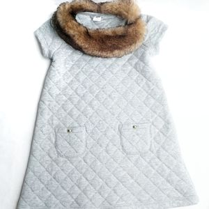 Janie and Jack quilted grey dress faux fur collar
